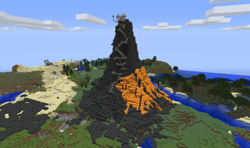 how to make a minecraft volcano small